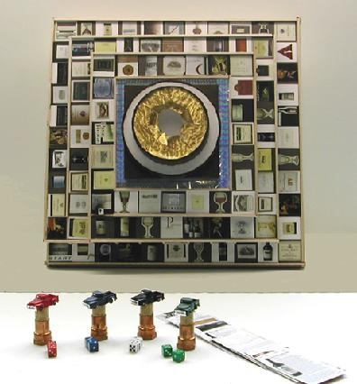 Balsa Wood, Styrofoam and Paper Sculpture entitled 'Napa the Game' with Metal Game Pieces