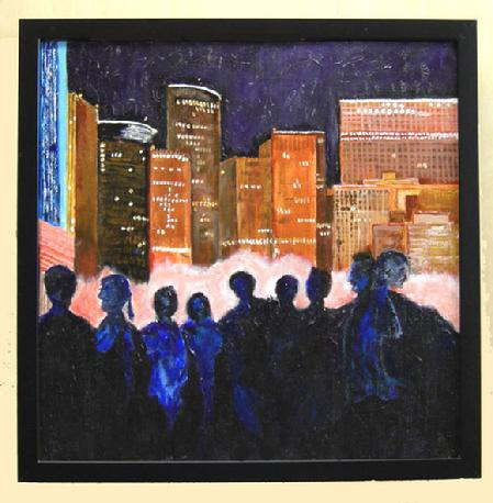 "Acrylic Painting on Canvas entitled 'Night Life' 16"" x 16"""