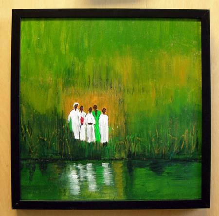 "Acrylic Painting on Canvas entitled 'Baptism' 16"" x 16"" Framed"